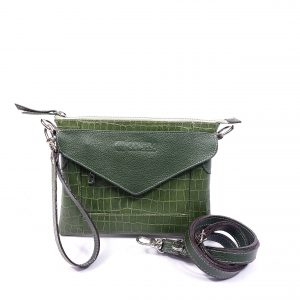 Mini Bolsa Fiorella Croco Verde