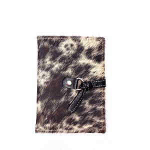 Porta Passaporte em Pelo bovino Mescla Preto